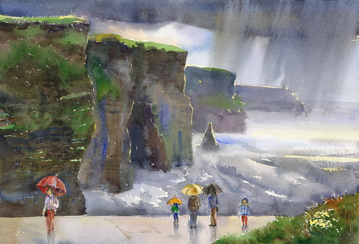 Painting by Irish Ukrainian artist Ludmila Korol. Scene of people with umbrellas looking out over the Cliffs of Moher in Co. Clare, Ireland. Rain sheets can be seen falling from the clouds but the light is also shining through onto the water. It is easy to see the immensity of this beautiful natural wonder by comparing the size of the people in the foreground against the height of the cliffs. Pictured is a family of four with another lady holding a red umbrella standing separately.