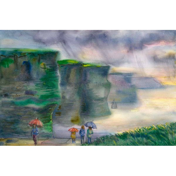 Cliffs of Moher with Umbrellas - print