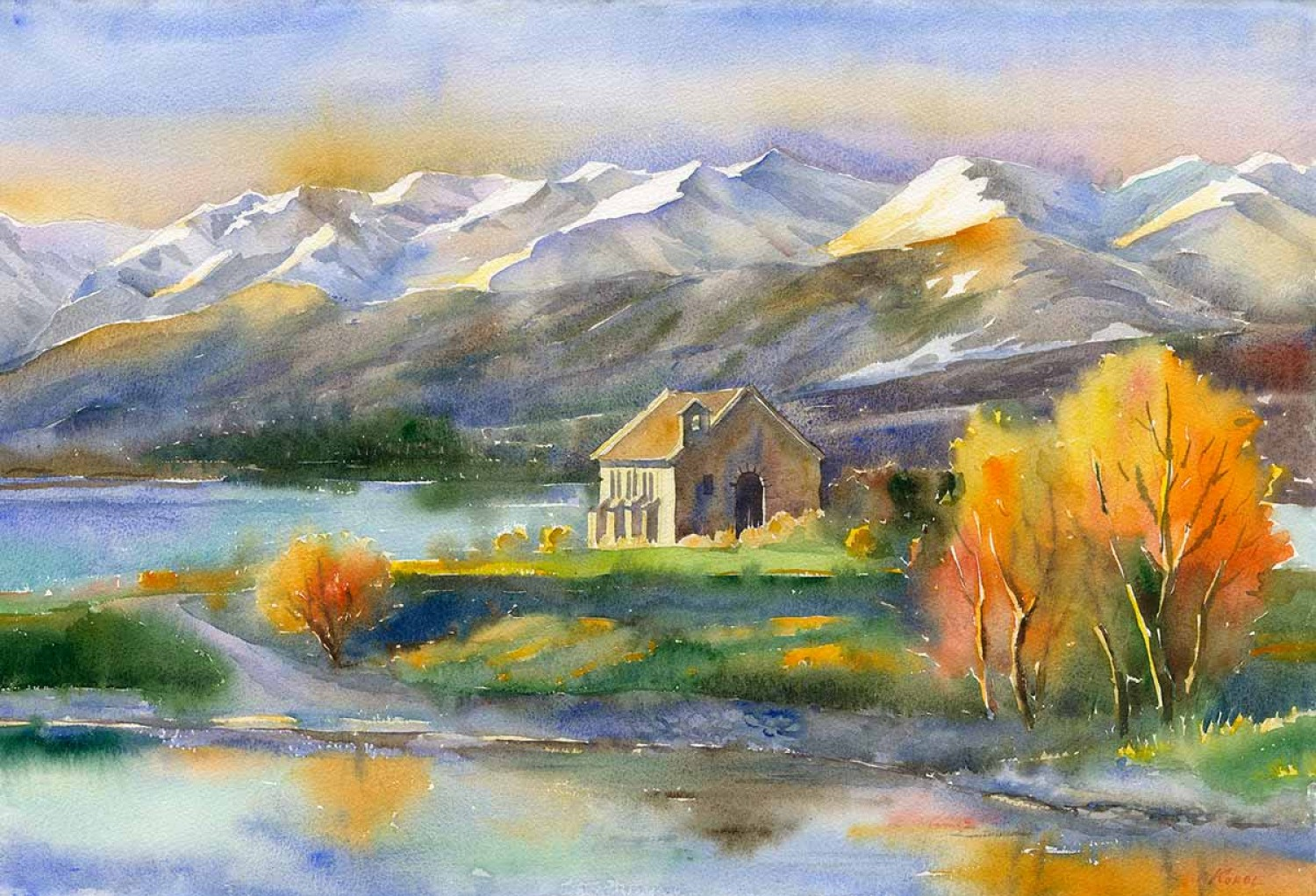 Painting from New Zealand with snow capped peaks and blue lake with trees of autumn colours reflecting in the water. In the centre of the artwork is the Church of Good Hope standing solitary in this astounding landscape.